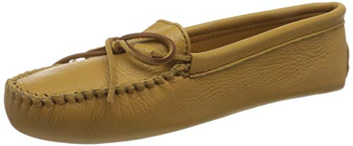 Minnetonka Women's Double Deerskin Softsole Moccasin,Natural Deerskin,6 M US