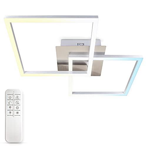 B.K.Licht Plafoniera LED dimmerabile con telecomando, CCT luce calda, neutra, fredda, LED integrati 27W 3040Lm, 1 quadrato orientabile, lampadario con timer e funzione luce notturna per camera o sala