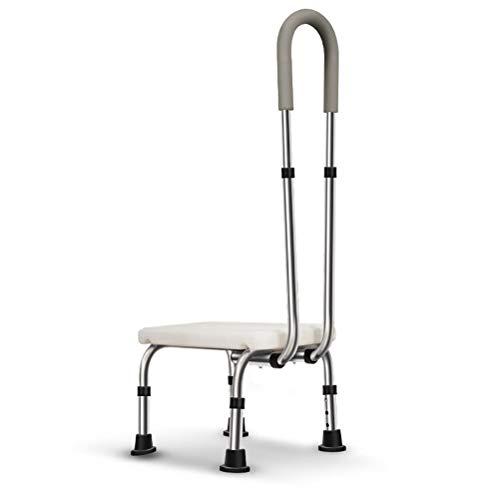 HSRG Taburete De Seguridad con Pasamanos, Taburete De Bañera Ajustable En Altura, Taburete De Pie Médico Antideslizante, Ayuda para La Movilidad En La Ducha para Ancianos Y Discapacitados ⭐
