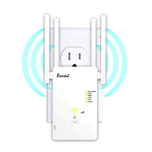 WiFi Booster 1200Mbps WiFi Extender 5GHz & 2.4, cubre 1500Sq.ft, repetidor de alcance WiFi para el hogar, 4 modos de trabajo Wi-Fi...