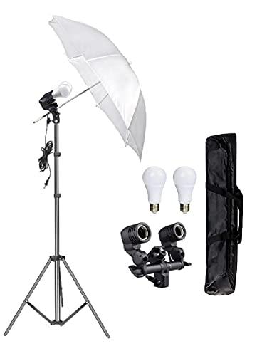 HIFFIN® E27 Studio Double Holder KIT Umbrella White + Studio Light Stand 9 FT+ Umbrella and Bulb Holder KIT Mark I  1 Double Holder,1 Light Stand 9FT,1 Umbrella, 1 20 WT LED Bulb