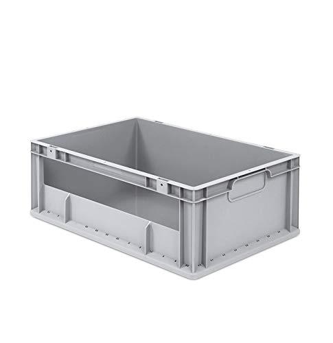 aidB Eurobox NextGen Insight Seite offen, 600x400x220 mm, robuste Regalbox mit Entnahmeöffnung, stapelbare Kunststoffkiste, ideal für die Industrie