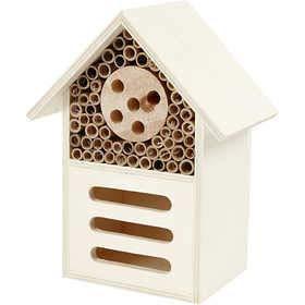 Insektenhaus Insektenhotel Bienenhaus Bienenhotel Nisthilfe und Schutz für Nützlinge Bienen Schmetterlinge aus Kiefern-Holz H 26,1 cm, B 18,4 cm, Tiefe 9,2 cm ideale Deko für Garten Balkon