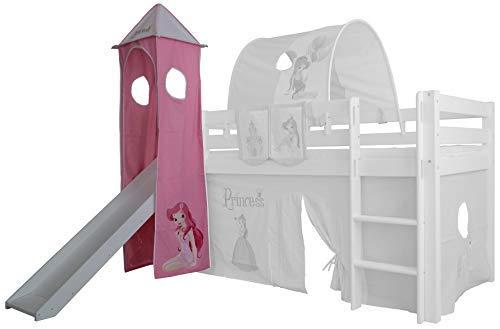 XXL Discount Turm-Vorhang 100% Baumwolle für Hochbett Spielbett Stockbett Kinderbett Kinderzimmer Spielturm mit Turmgestell (Rosa/Weiß, Prinzessin)