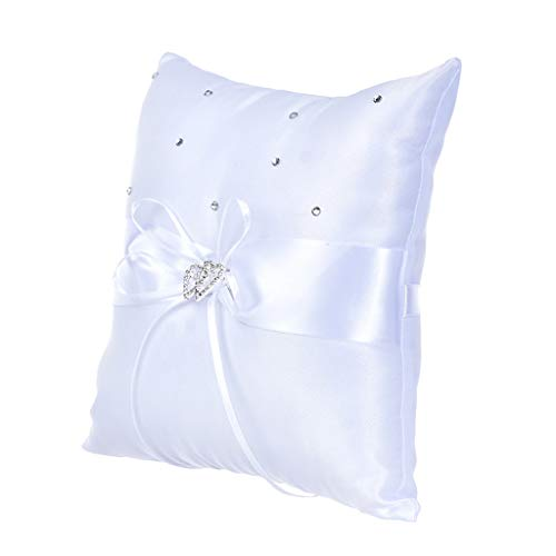 Liquidation de panier de fleurs, Crystal Heart Bridal Wedding Party Flower Girl Basket Ring Bearer Pillow, Home Textiles pour Pâques et St Patrick, White