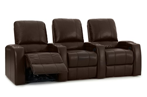 Octane Storm XL850 Home Movie Theater Chairs - Brown Premium Leather - Motorized Recline - Straight Row of 3 Seats