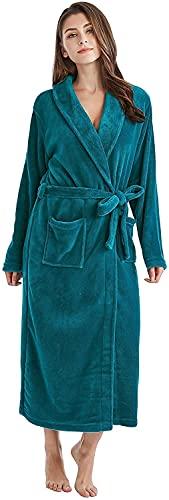 Beapet Bata de Pelo Largo de Bata de baño de Lana de Mujer Robe de Peluche (Color : Deep Ocean Green, S : L)