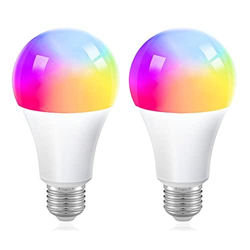 Smart LED Lampe ZigBee Alexa E27 Glühbirne 9w Mehrfarbige Dimmbare Lampe RGBCW 16 Millionen Farben Birne Kein Hub Benötigt Kompatibel mit Philip Hue SmartThings Hub Amazon Echo Plus Google Home 2 PACK