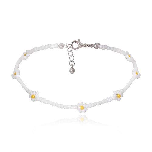 Shangwang - Collar corto perlado hecho a mano colorido, acrílico, flor de margarita, transparente 33