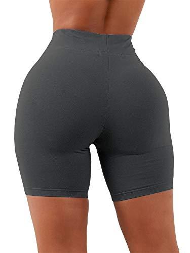 Aurgelmir Women's Workout Shorts High Waist Booty Gym Yoga Pants Butt Lifting Sports Leggings Basic Biker Shorts (Black,Medium)