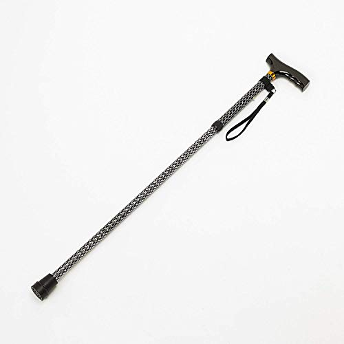 Homecraft Short Folding Walking Stick with Wooden Handle Etched Black