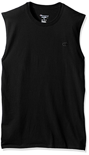 Champion Men's Classic Jersey Muscle T-Shirt, Black, M