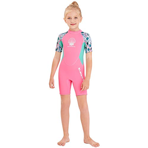 Wetsuit Kids Shorty Neoprene Thermal Diving Swimsuit 2.5MM for Girls Boys Child Teen Youth Toddler, One Piece Children Rash Guard Swimming Suit UV Protection Sunsuit for Surfing (Girl Pink, L)