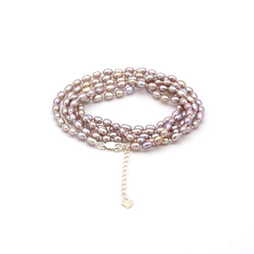 ELAINZ HEART bracciale di perle a più fili,regolabile 90cm stringa con A4AAA più fine lustro viola 4-5mm ovale perle di coltivate d'acqua dolce
