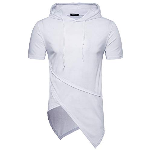 CFWL FrüHling Und Sommer Herren T-Shirt Herren Kapuze Einfarbige NäHte Kurzarm Hoodie Top Hemden Tops 3D Print Kurzarm-Shirt Top Slim Fit Tops Sweater MäNner White XL