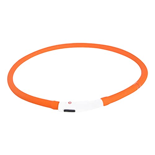 Nobranded USB Rechargeable LED Dog Collar - Glowing Pet Safety Collar Silicone Cuttable Light Up Dog Collar Lights for Night Dog Walking - Orange Review