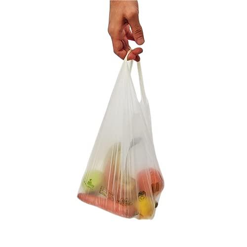 Luxos Packaging Bio Bag Premier Bolsas Biodegradables Camiseta (con Asas), Materia orgánica, 35 x 50 cm