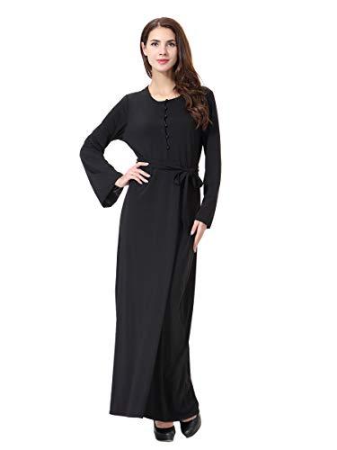 Vrouwen Moslim Robes Islamitische Abaya Maxi Jurk Lange Mouw Lange Jas Parel Knop Taille Riem Marokkaanse Kaftan Caftan Jurk