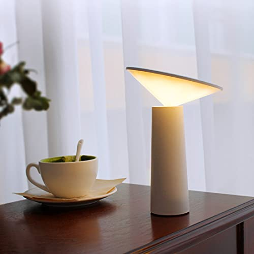 LANMOU LED Lámpara de Cabecera Táctil Inalámbrica, Lámpara de Mesa Recargable USB Luz Nocturna Regulable Lámpara de Lectura Ajustable Infantil, 3 Temperaturas de Color, Batería de 1200 mAh, 5W,Blanco