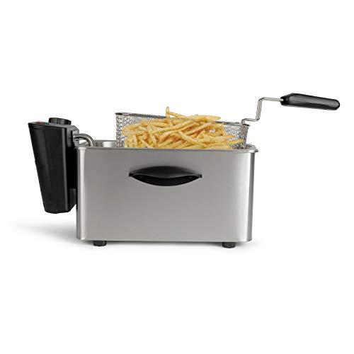 Freidora con aceite grande 4L - Recipiente de acero inoxidable extraíble de 4 litros - Potente potencia de 2000 vatios con termostato - Mango plegable 1 kg de patatas fritas.