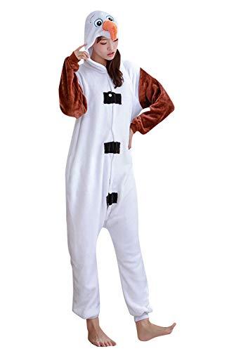 YAOMEI Adulto Unisexo Onesies Kigurumi Pijamas, 2020 Mujer Hombres Traje Disfraz Animal Pyjamas, Ropa de Dormir Halloween Cosplay Navidad Animales de Vestuario (Olaf, M)