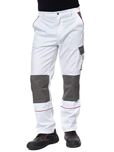 DINOZAVR Herren Arbeitshose Bundhose/Cargohose mit Multifunktions- und Kniepolstertaschen - strapazierfähig - Weiß EU54