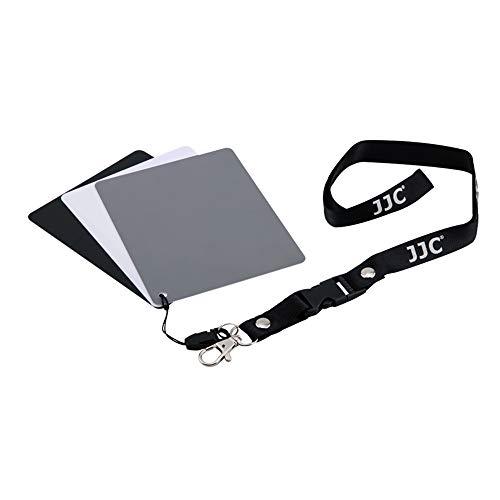 Scheda di bilanciamento del bianco in PVC con scheda grigia 18% di esposizione fotografia, 3-in-1 bilanciamento del bianco, nero e grigio