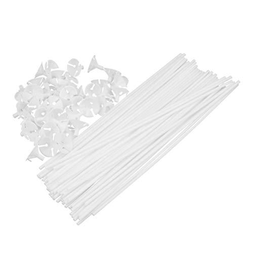 TOYANDONA 50 Piezas de Plástico Blanco Palitos de Globos con Tazas Soportes de Palitos de Globos para La Decoración del Banquete de Boda de Cumpleaños de Navidad
