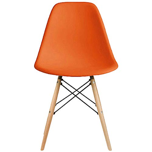 2xhome - DSW Molded Plastic Shell Bedroom Dining Side Ray Chair with Brown Wood Eiffel Dowel-Legs Base Nature Legs (Orange)