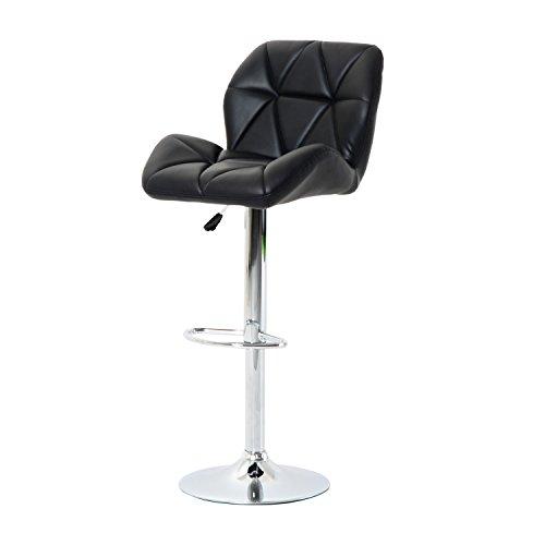 HOMCOM Diamond Design Swivel Leather Bar Stool Breakfast Barstool Kitchen Pub Dining Chair Gas Lift PU Chair Metal Chrome Base Adjustable Height (Black)