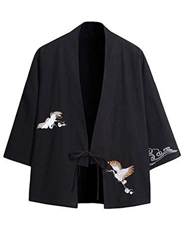 Hombres Primavera Verano Algodón Lino Japón Happi Kimono Haori Chaqueta Ropa de Fiesta Vintage Loose Japanese Yukata Transition Jacket (Color : Schwarz, Size : EU M =XL)