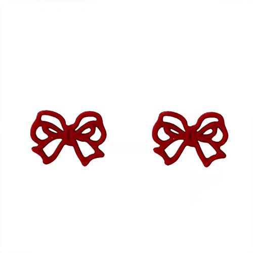 S925 Aguja de plata Retro Flocado Arco rojo Pendientes individuales Temperamento Pendientes de moda simples y pequeños Pendientes Pendientes