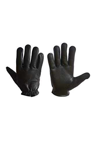Short-Wrist Motorbike // Motorcycle Gloves Made from Premium Quality Cow Grain Aniline Leather Brown M//L//XL Shirred Elastic Back Black