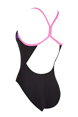 Zoggs Sprintback Eco - Traje de baño de una Pieza para Mujer, Mujer, Traje de baño de una Pieza de Tela ecológica, 110520032, Multi/Negro/Empower, 32-Inch/UK 8