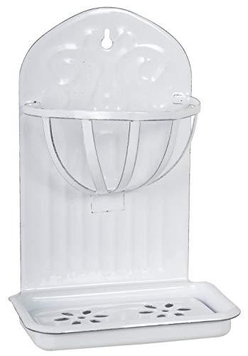 Tolle im Vintage-Stil nostalgische Seifenschale, aus Emaille hergestellt. Modell : White SOAP. Farbe Weiss, Wandmodell, 22 x 15 x 9 cm. Ideal für jedes Badezimmer. Hoher Neidfaktor.
