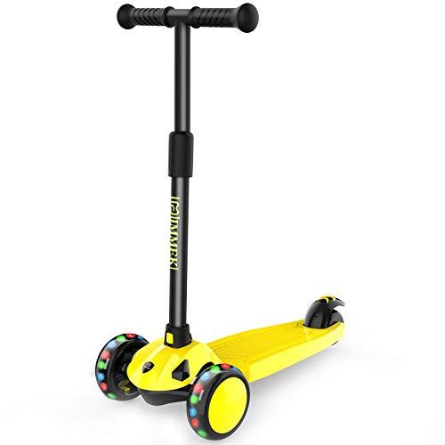 IMMEK Kinderroller 3 Räder Scooter für Kinder Roller ab 2-8 Jahre Kleinkinder Kinderscooter Jungen und Mädchen mit 3 LED PU Räders, Verstellbare Lenker Maximale 50 KG (Gelb)