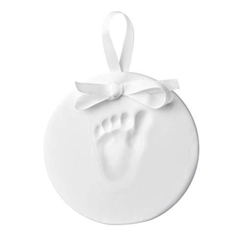 Little Pear - Adorno colgante con forma de huella de bebé o huella de pie (unisex), color blanco
