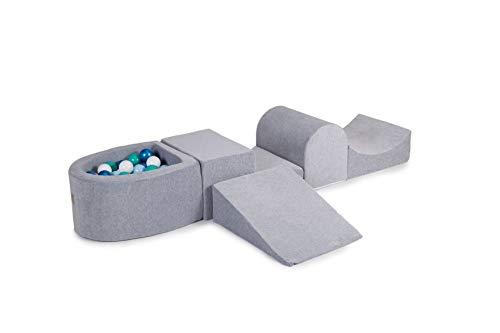 MEOWBABY 200x45cm/100 Bälle Spielset mit Bällebad Schaumspielblöcke Kinderzimmer Schaumspielset Schaummodul Spielplatz Made in EU Hellgrau: Blaue Perle/Babyblau/Weiß/Türkis