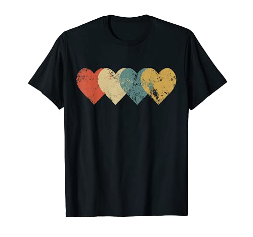Vintage Hearts Cool Retro Valentines Day Gift for Women Men T-Shirt