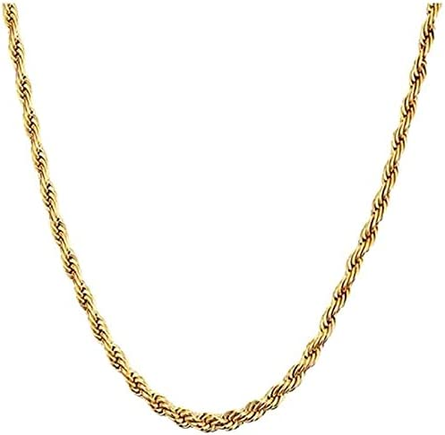 3MM 5MM Gold Plated Twist Chain Necklace Stainless Steel Necklace 17.7-23 Inches Women Men's Jewellery