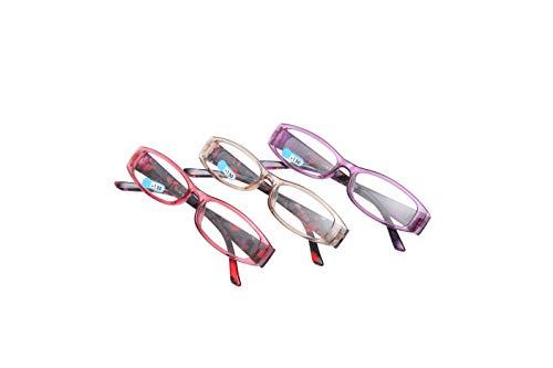 Double Legend 老眼鏡 おしゃれ メガネ 軽量 一体型 コンパクト 携帯用 メンズ レディース 3パック (3パック, 2.5)