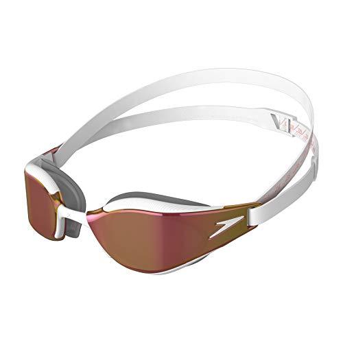 Speedo Unisex-Adult Fastskin Hyper Elite Mirror Schwimmbrillen, weiß/Oxid Grey/Rose Gold, Talla única