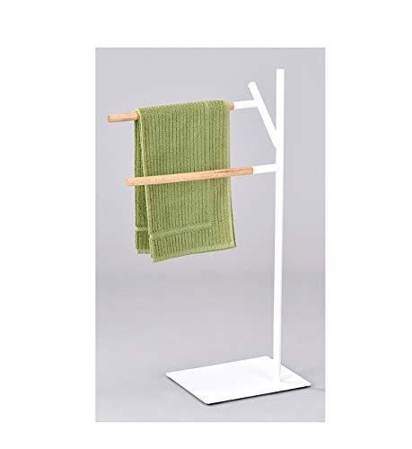Meubletmoi–Toallero Pie 2Barras Montaje Madera Color Blanco Natural–almacenaje Cuarto de baño diseño escandinavo–Woody