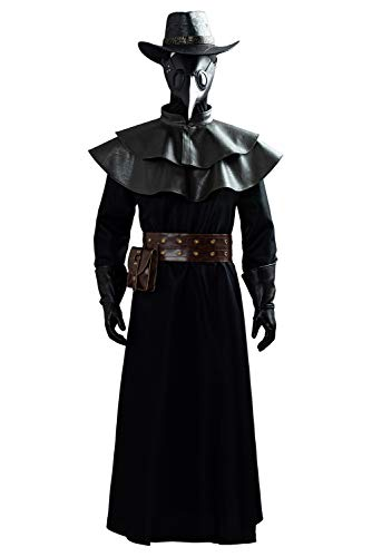 Fortunezone Disfraz medieval Steampunk para hombre con perdoctor de pesto, juego de accesorios S