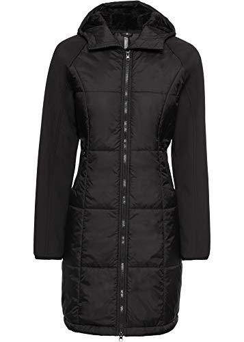 bonprix Im Materialmix gestalteter Steppmantel mit Kapuze schwarz 38 für Damen