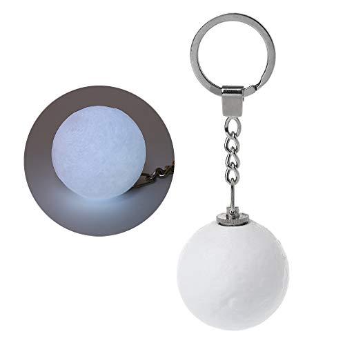 Hergon Moon Luminous LED-Licht, Schlüsselanhänger, Nachtlicht, 3D-Druck, kreatives Mondlicht, Weihnachtsgeschenk für Kinder (weiße Streifen)