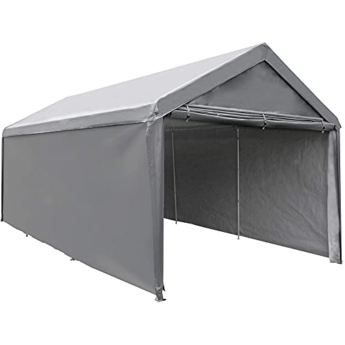 Abba Patio 10 x 20 ft Carport Heavy Duty Carport with Removable Sidewalls & Doors Portable Garage Extra Large Car Canopy for Auto, Boat, Party, Wedding, Market stall, with 8 Legs, Gray