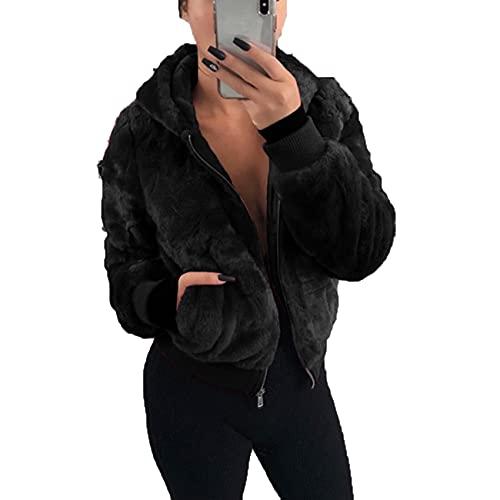 OtoñO E Invierno, Moda Informal para Mujer, con Capucha, Color Puro, Cremallera De Felpa, Manga Larga, Suelta, Abrigo Corto para Mujer