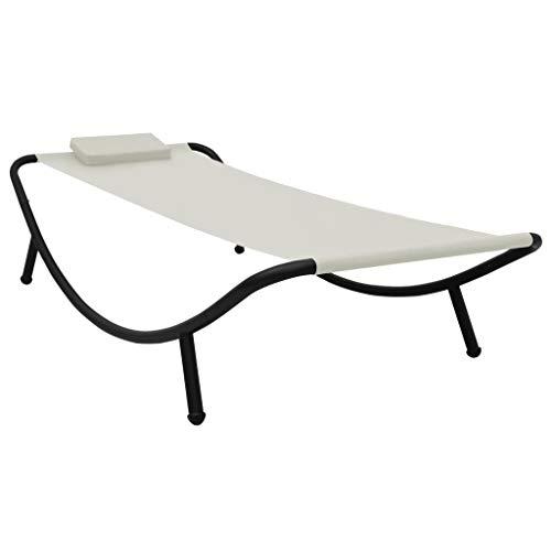 vidaXL Gartenbett mit Kissen 1 Person Sonnenliege Gartenliege Relaxliege Strandliege Freizeitliege Liege Gartenmöbel Creme 200x90cm Stahl