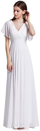 Ever Pretty Womens Floor Length Long Chiffon Homecoming Dress 16 US White product image